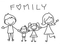 hand drawing cartoon happy family happy lives
