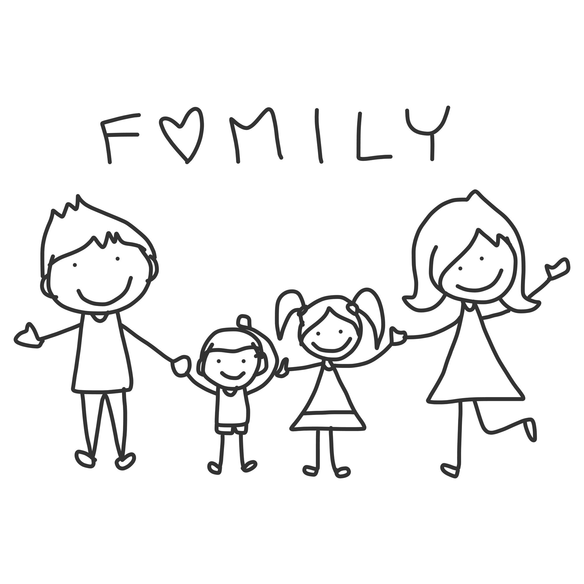 hand drawing cartoon happy family happy lives